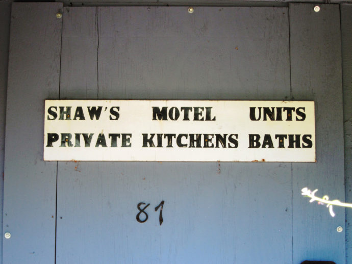 Door of Shaw's Motel.